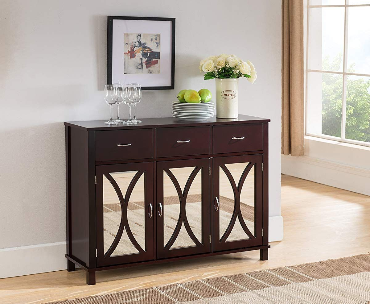 Kings Brand Rutheron Buffet Server Cabinet Console Table Mirrored
