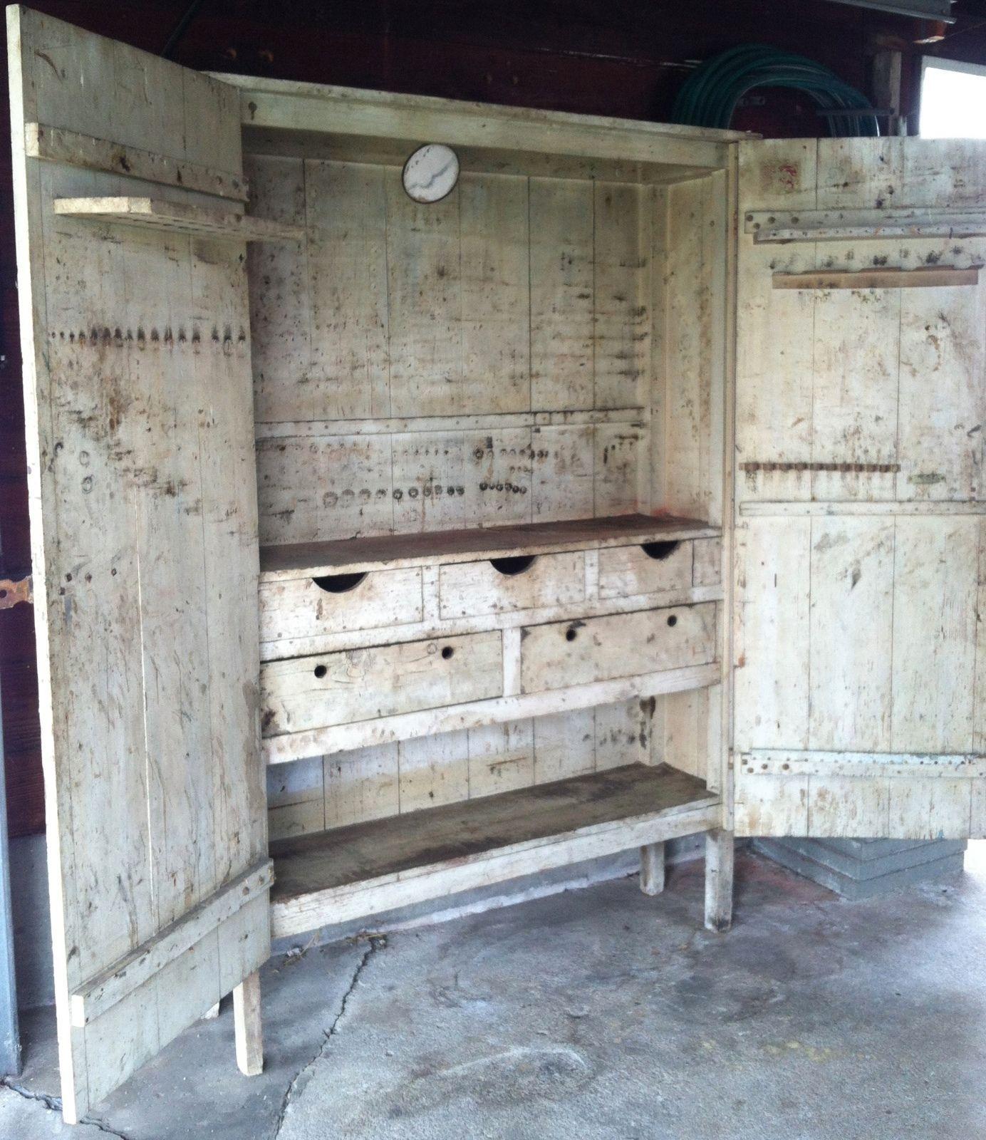 Large Vintage Antique Primitive Cupboard Cabinet Chippy Paint Shabby | eBay - Large Vintage Antique Primitive Cupboard Cabinet Chippy Paint Shabby