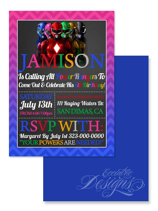 Power Rangers - Digital Birthday Party Invitation / Child Party ...