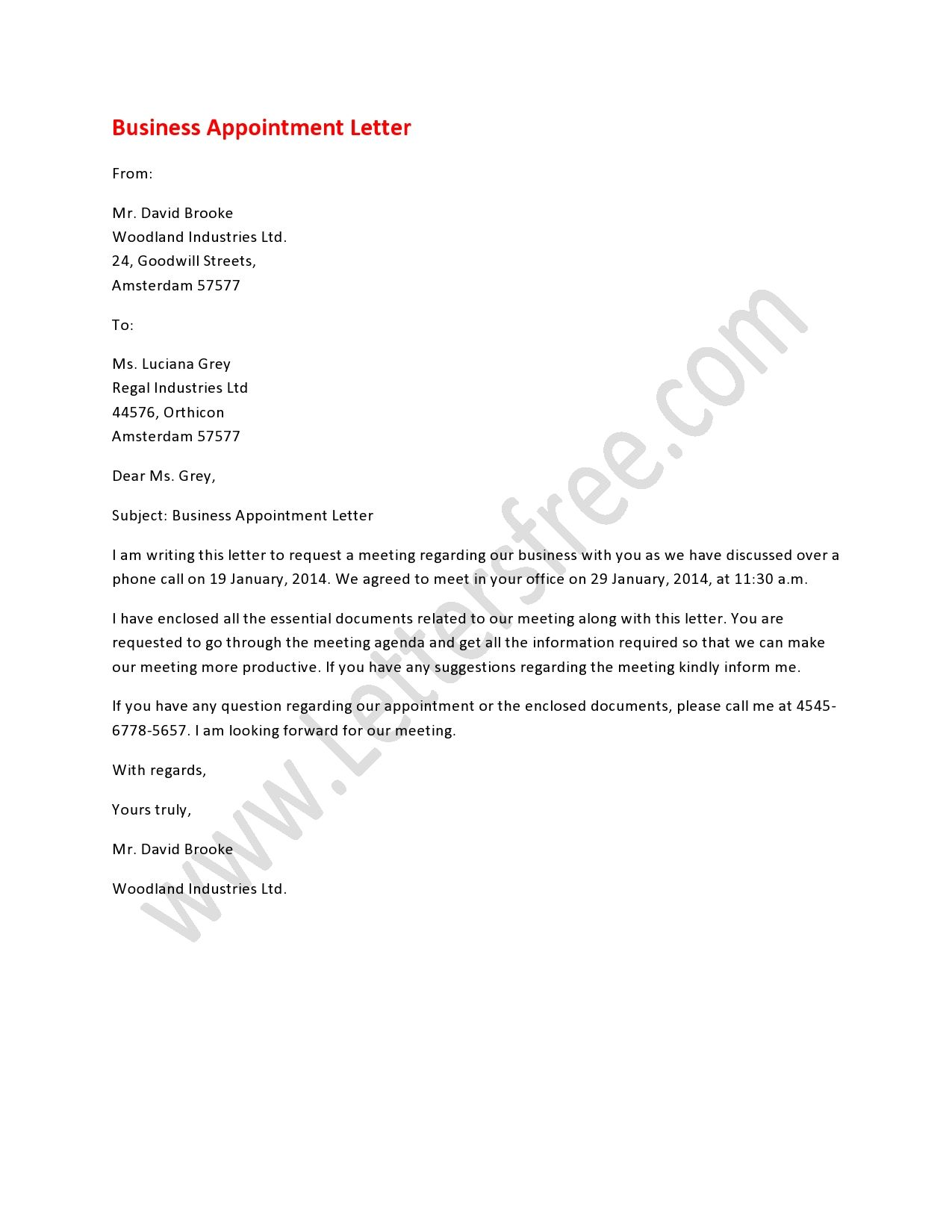 A business appointment letter is addressed to schedule the ...
