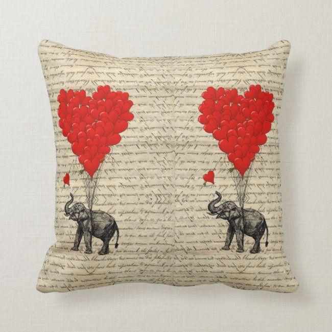 Elephant and heart shaped balloons throw pillow | Zazzle.com