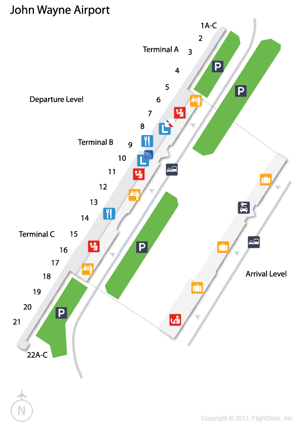 map of john wayne airport Flightstats Airport Map John Wayne Airport Airport map of john wayne airport