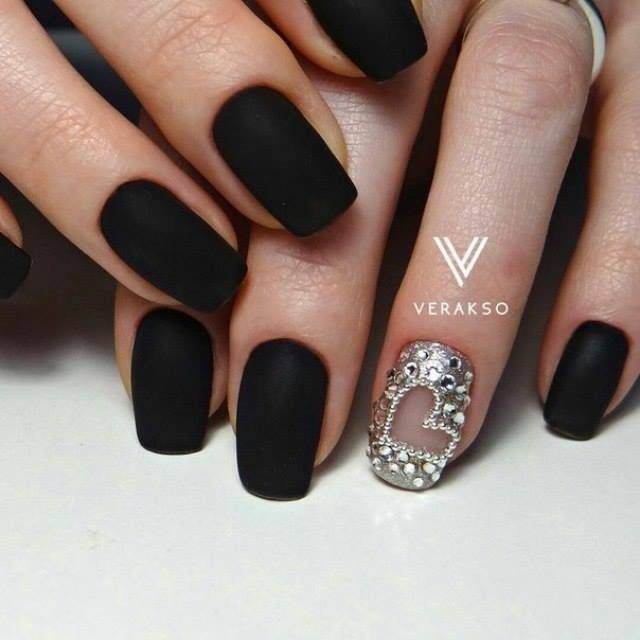 #unasesculpidas (con imágenes) | Uñas negras mate, Uñas de ...