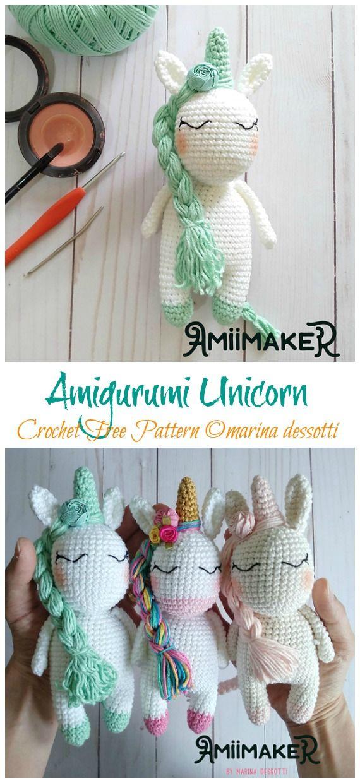 Amigurumi Unicorn Amora Crochet Free Pattern - Crochet #Unicorn; #Amigurmi; Free Pattern