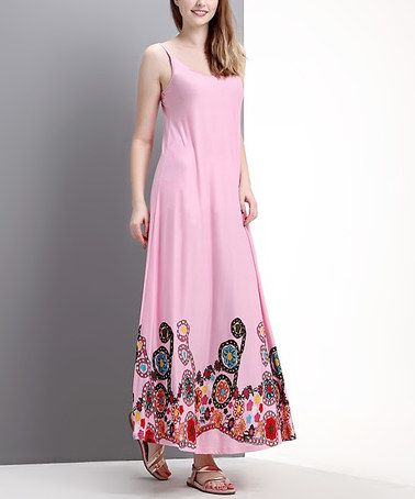 Another great find on #zulily! Pink Garden Maxi Dress by Reborn Collection #zulilyfinds