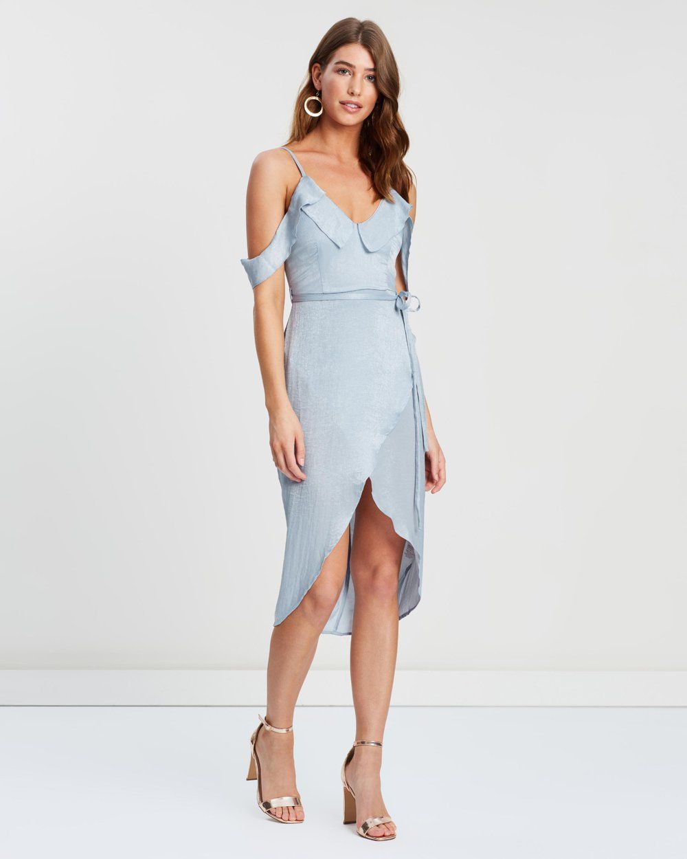 443a13c4e2c6d Buy Satin Frill Midi Dress by Missguided online at THE ICONIC. Free and  fast delivery to Australia and New Zealand.