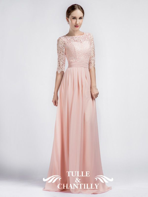 638b8f1e5614c Boat Neck Lace Sleeves Bridesmaid Dress with Chiffon Skirt TBQP356 ...