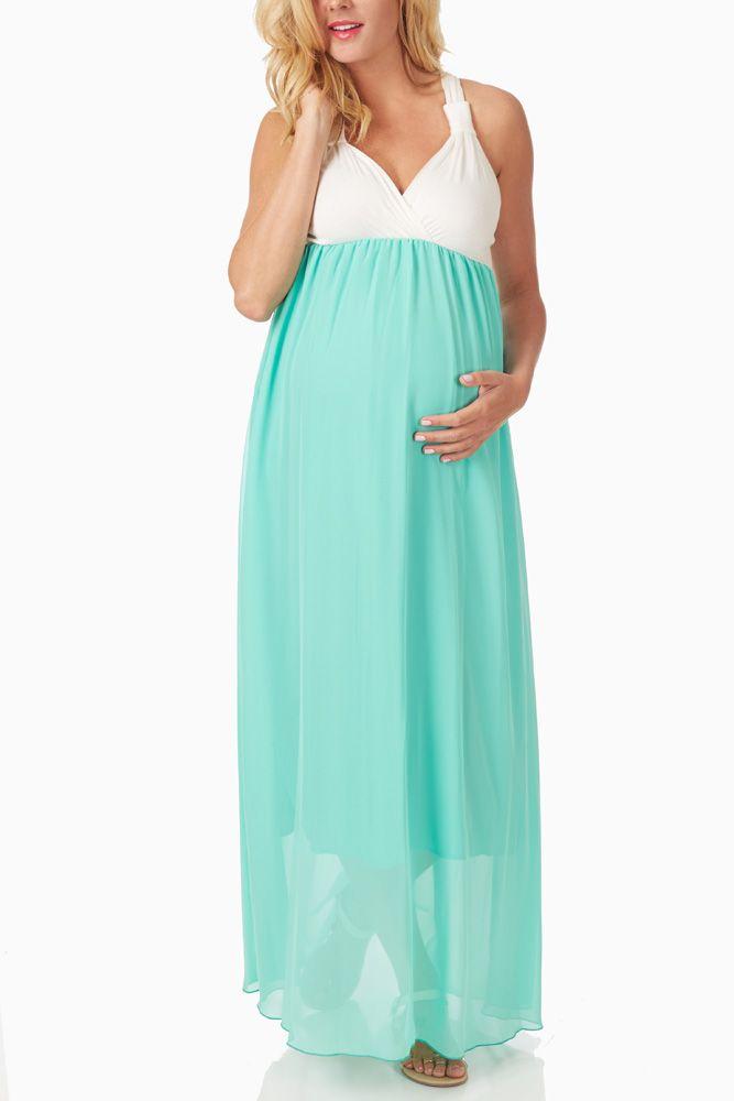 f30c29c634b Mint-Green-Chiffon-Colorblock-Maternity Nursing-Maxi-Dress  maternity   fashion