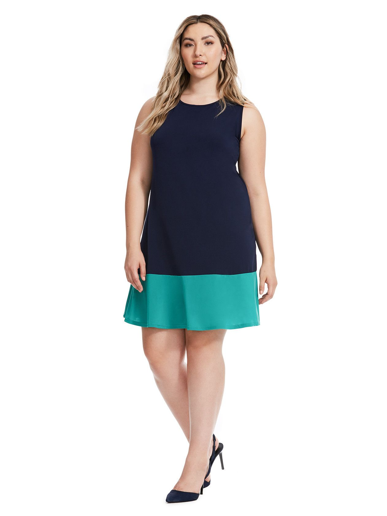 Tiana B | Colorblock Dress In Navy And Teal | Gwynnie Bee