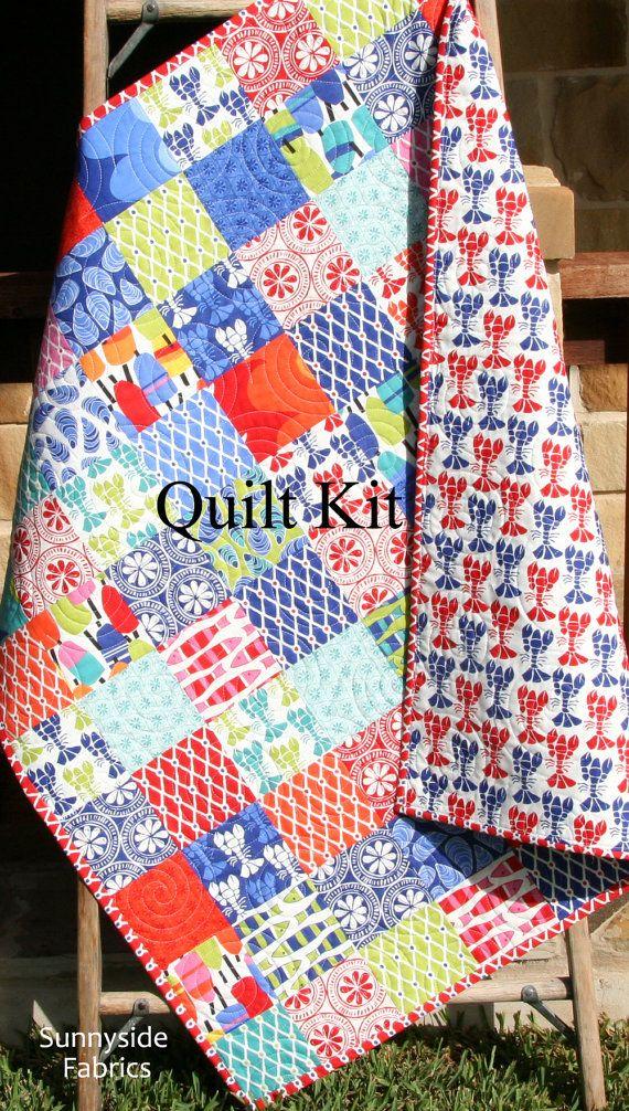 LAST TWO Coastal Quilt Kit, Beach House Kate Nelligan Moda Fabrics ... : easy quilt kits - Adamdwight.com