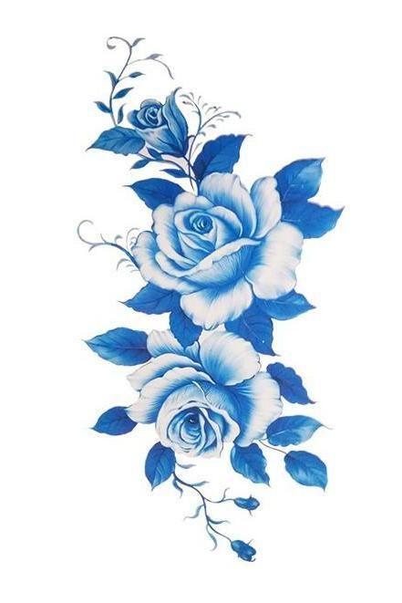 Elizabeth Blue Flower Temporary Tattoo -   22 flower bird tattoo ideas