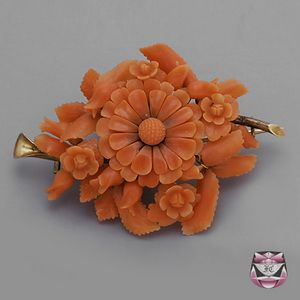 Fay Cullen Beautiful Coral Antique Pin now on Sale.