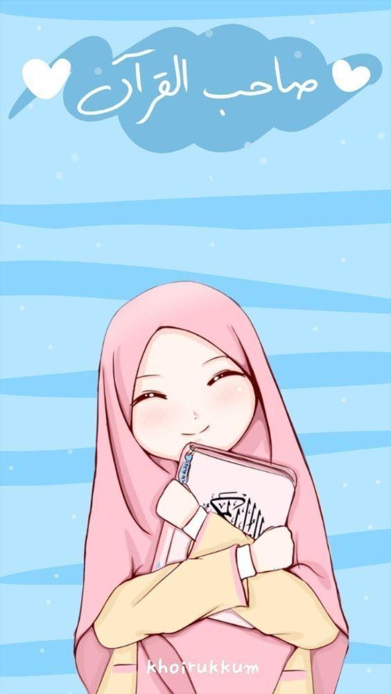 150 Gambar Kartun Muslimah Berkacamata Cantik Sedih