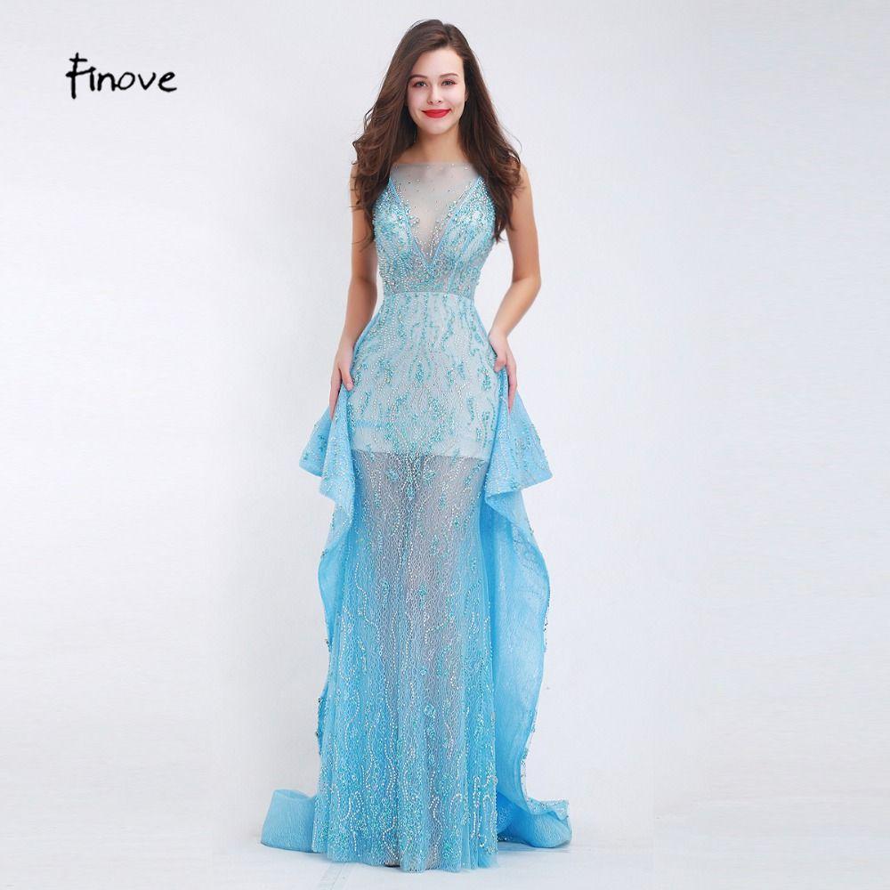Finove beading evening dresses new styles sexy seethrough