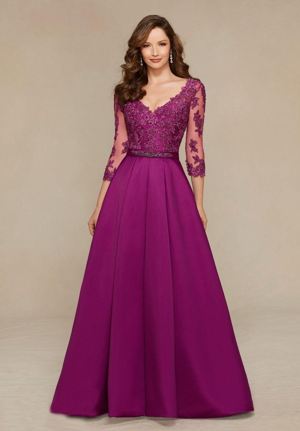V-Neck Three Quarter Elegant A-Line Purple Long Mother of the Bride ...