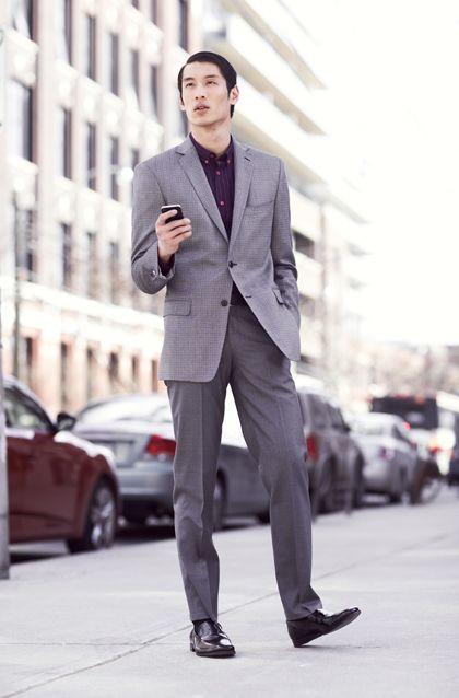 Men 39 s grey blazer purple long sleeve shirt grey dress for Gray dress shirt black pants