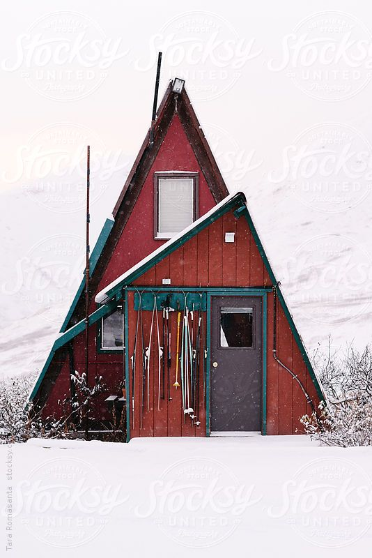 A frame cabin in alaska in the snow by tara romasanta for A frame cottage