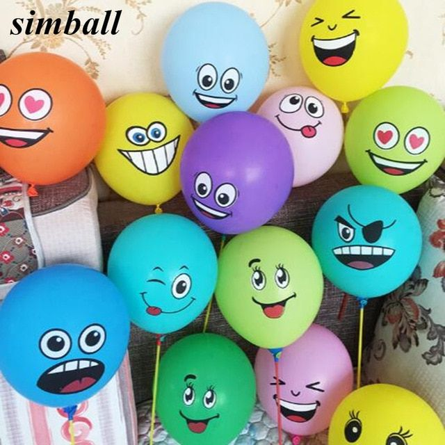 Inflatable Bouncers Ccinee 10pcs 12inch Emoji Balons Smiley Face Expression Yellow Latex Balons Party Wedding Balons Cartoon Inflatable Balls Toys & Hobbies