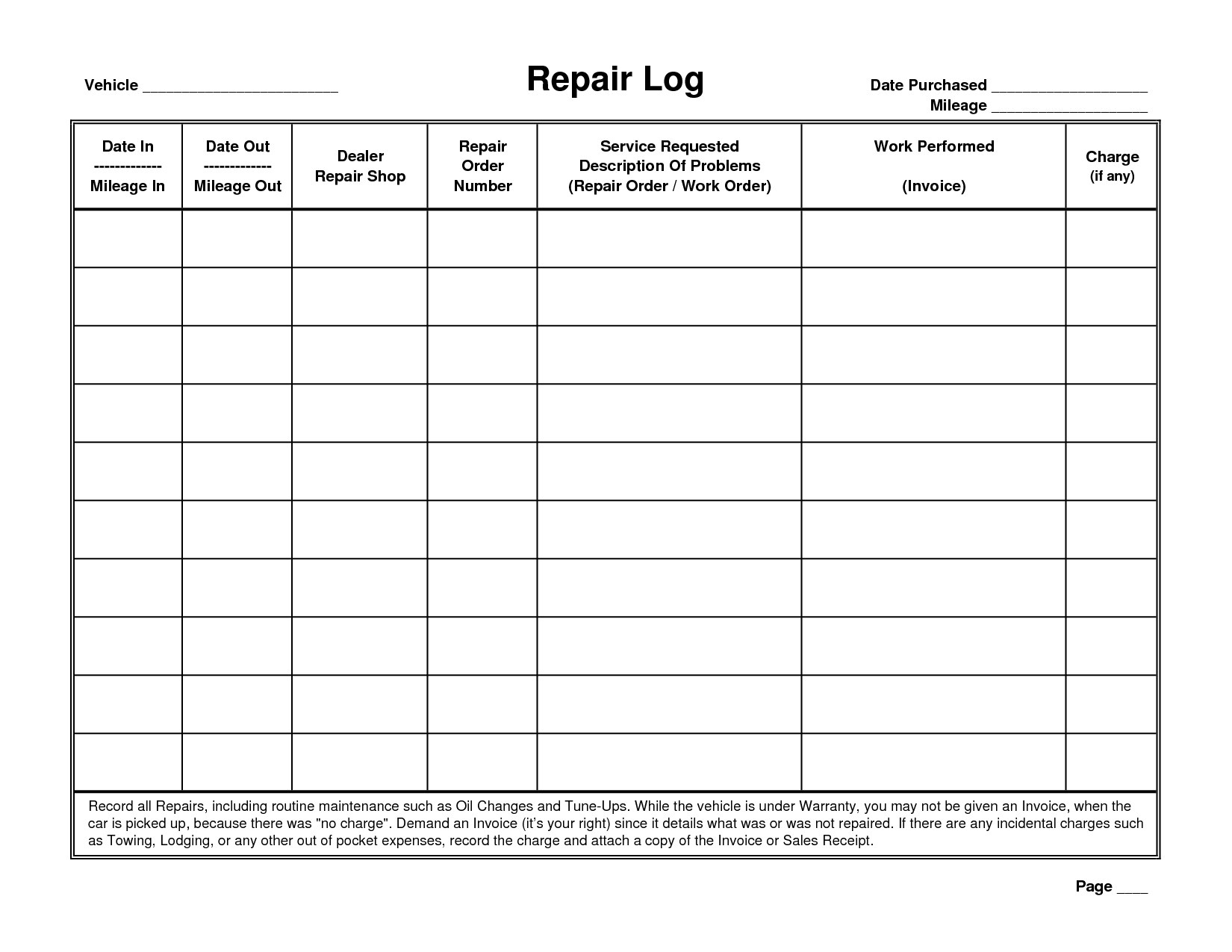 It is a photo of Eloquent Free Printable Vehicle Maintenance Log