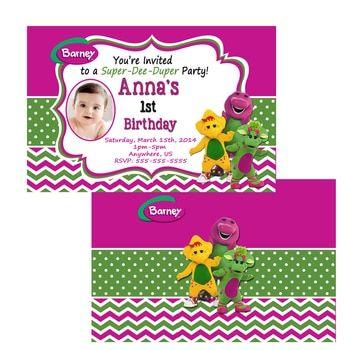 Barney Birthday Invitations Barney Chevron Invitations Barney