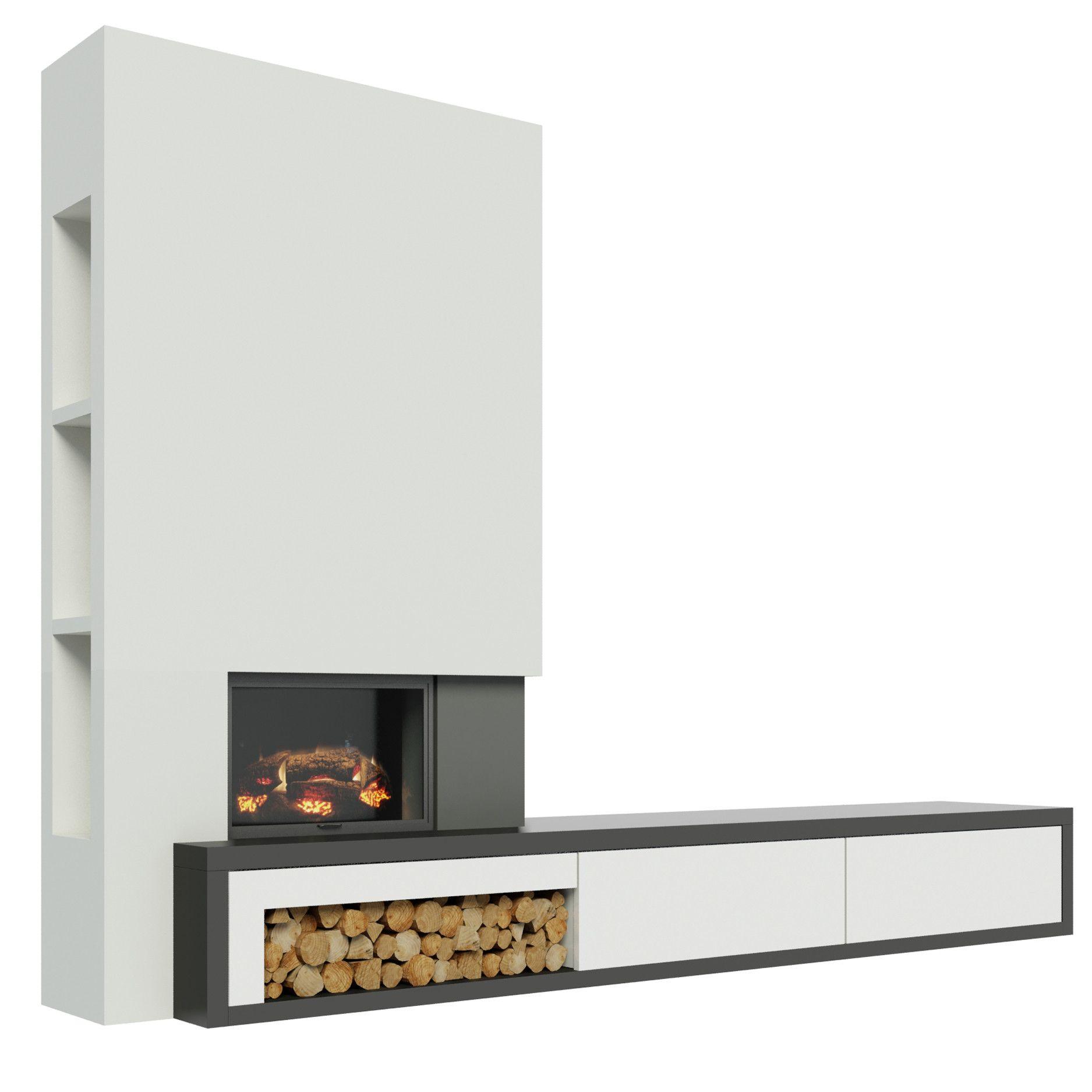 Max modern fireplace cabinet d model dmodeling pinterest