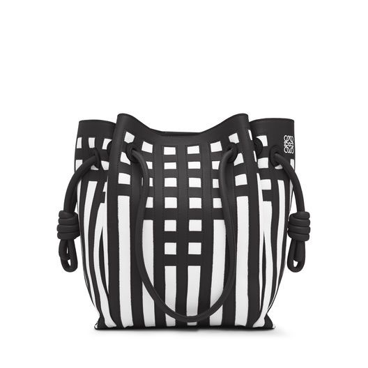 0b910e2ad77d LOEWE Flamenco Knot Tote Grid S Bag Black White all