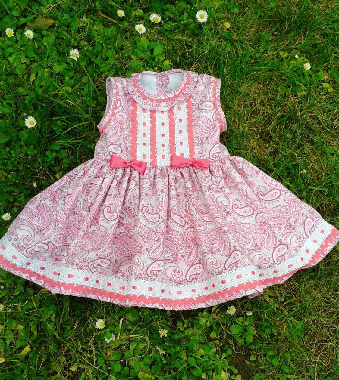 Vestido niña piqué rosa gris cachemires , vestido bebé rosa fucsia ...