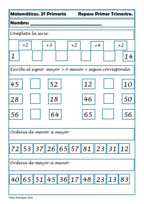 Fichas de matemáticas, Fichas primaria, Sumas, Restas, Números ...