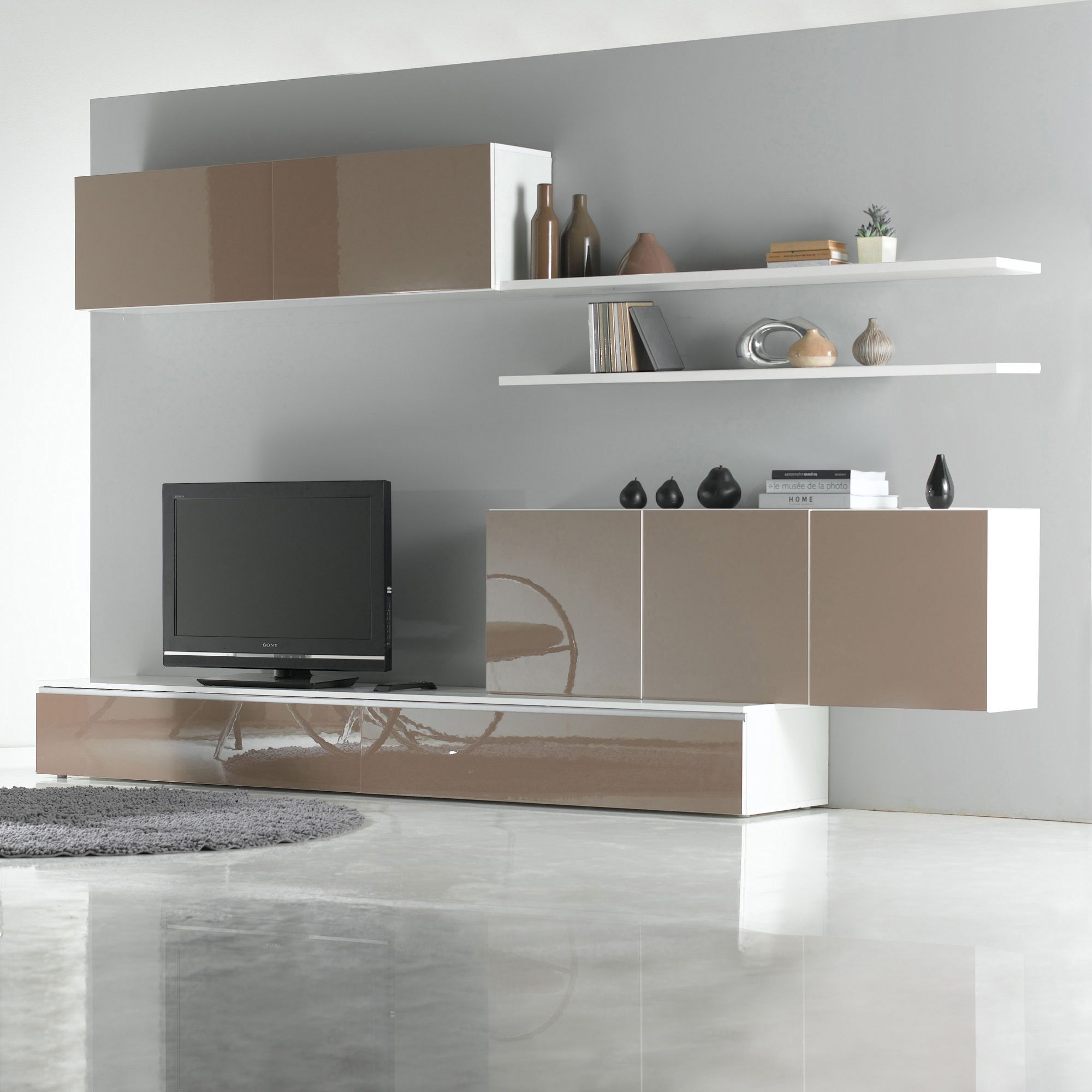 ensemble mural tv glosse blanc taupe brillant 4 l ments prix promo 3 suisses 699 00 ttc. Black Bedroom Furniture Sets. Home Design Ideas