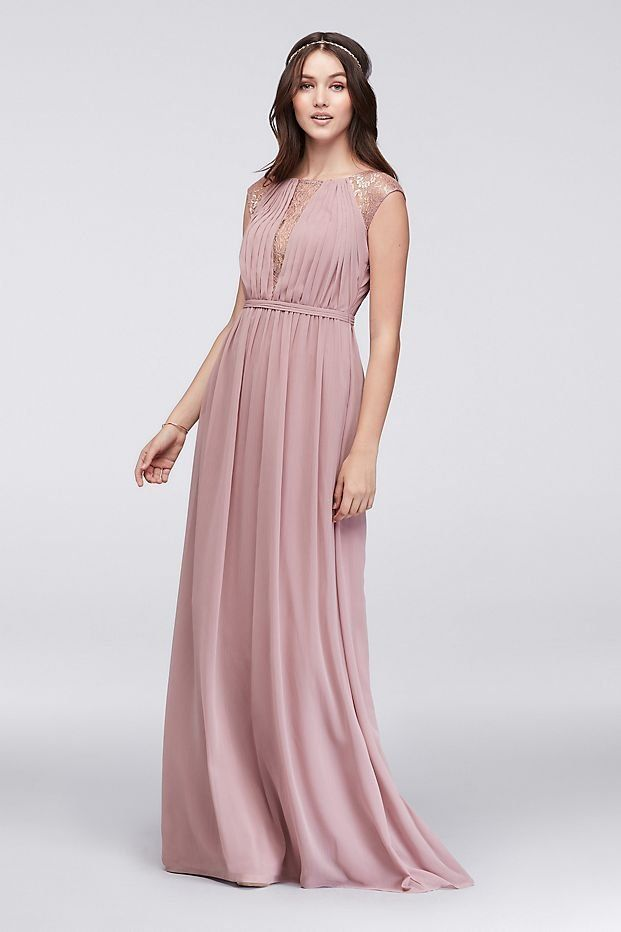 5b27bc86 V-Neck Bridesmaid Dress with Metallic Lace Inset | Rose Gold Bridesmaid  Dress from David's Bridal