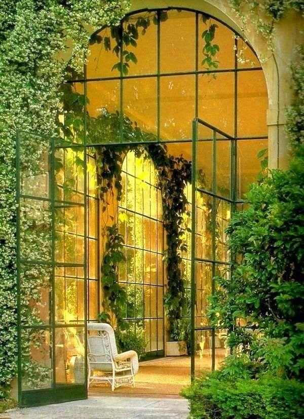 wintergarten glastür pflanzen pflege schattenliebende-arten, Terrassen ideen
