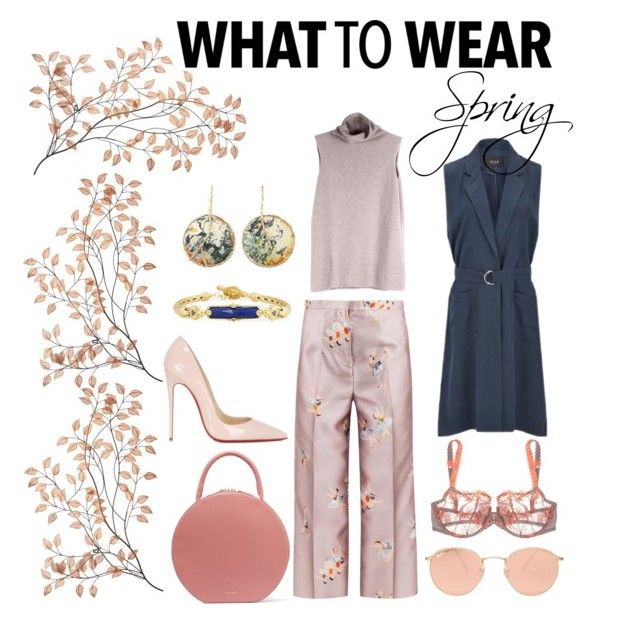 """""""What to wear: spring"""" by allthingsnoir ❤ liked on Polyvore featuring Rochas, Mansur Gavriel, Maison Lejaby, Ray-Ban, The Row, VILA, Christian Louboutin and Konstantino"""