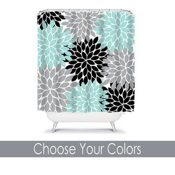 SHOWER CURTAIN Custom MONOGRAM Personalized Bathroom Decor Flower - Turquoise bathroom mats for bathroom decorating ideas