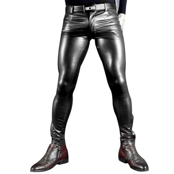 MENS SYNTHETIC LEATHER JEANS PANT TROUSER BIKER GAY RED BLACK /& WHITE CHAPS