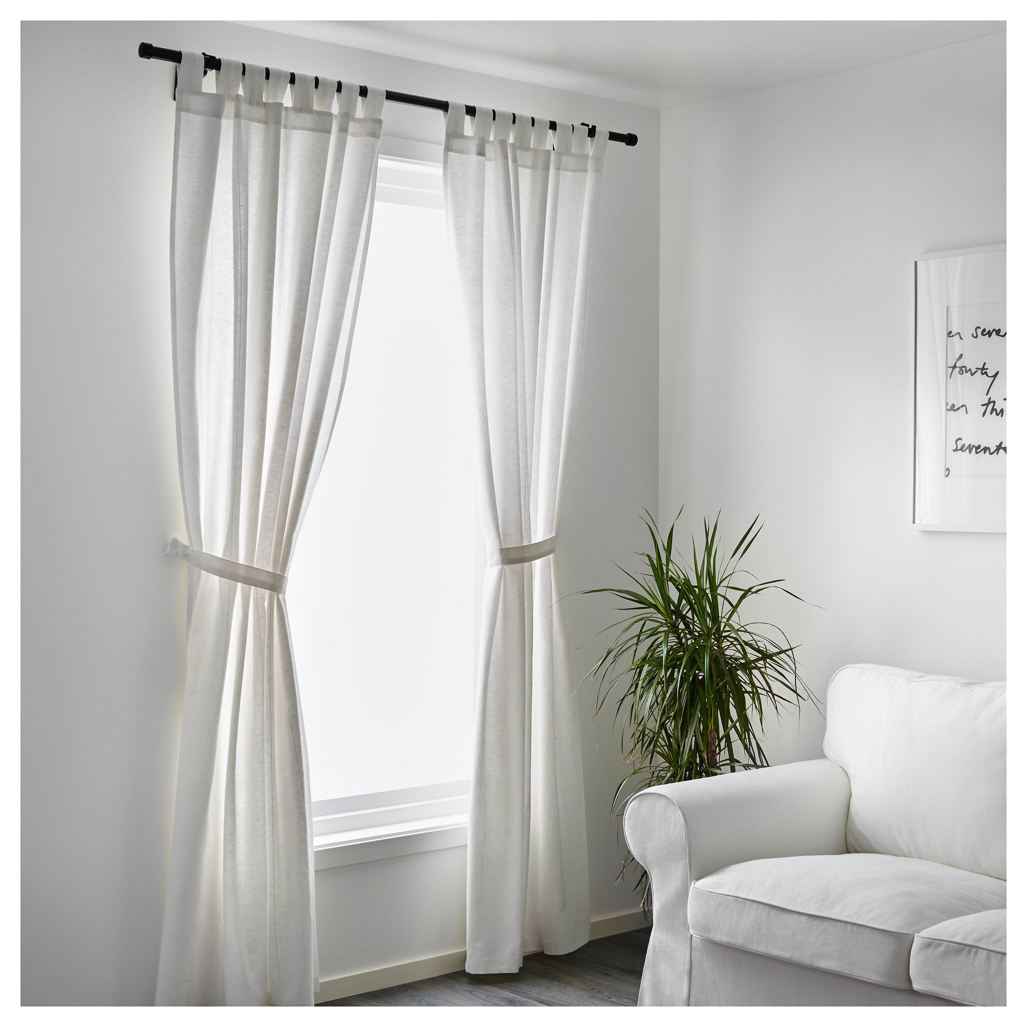 Ikea Lenda Curtains With Tie Backs 1 Pair Bleached