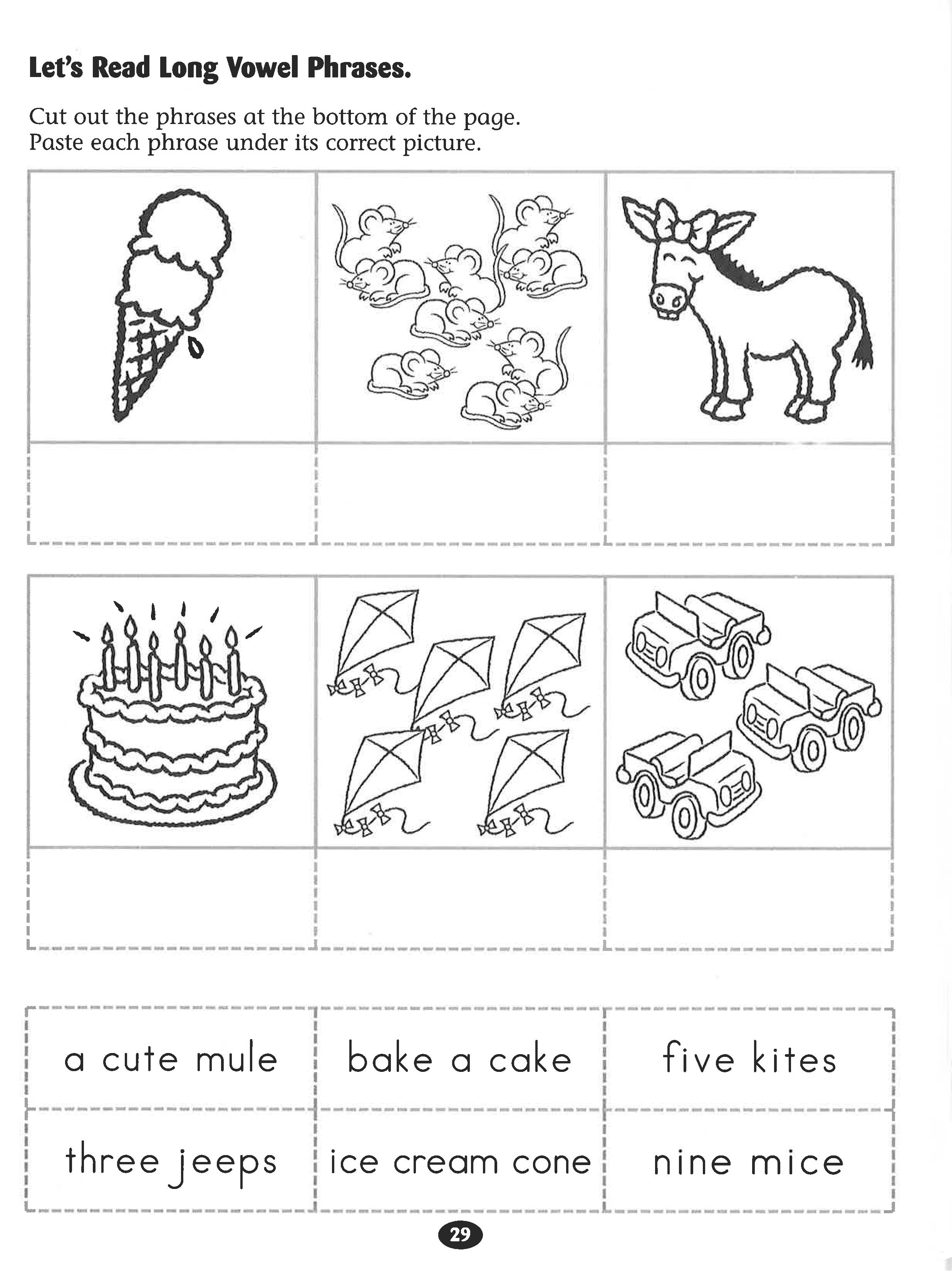 Let S Read Long Vowel Phrases Worksheet