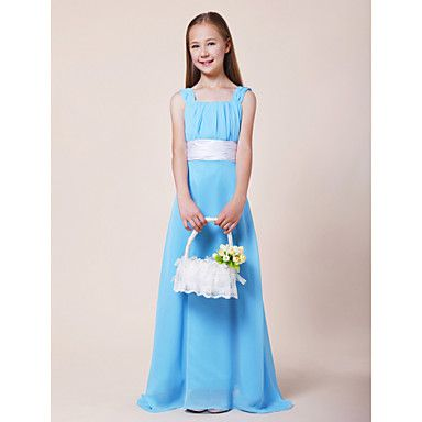 Floor-length Chiffon / Stretch Satin Junior Bridesmaid Dress - Pool A-line Straps / Square – AUD $ 100.09