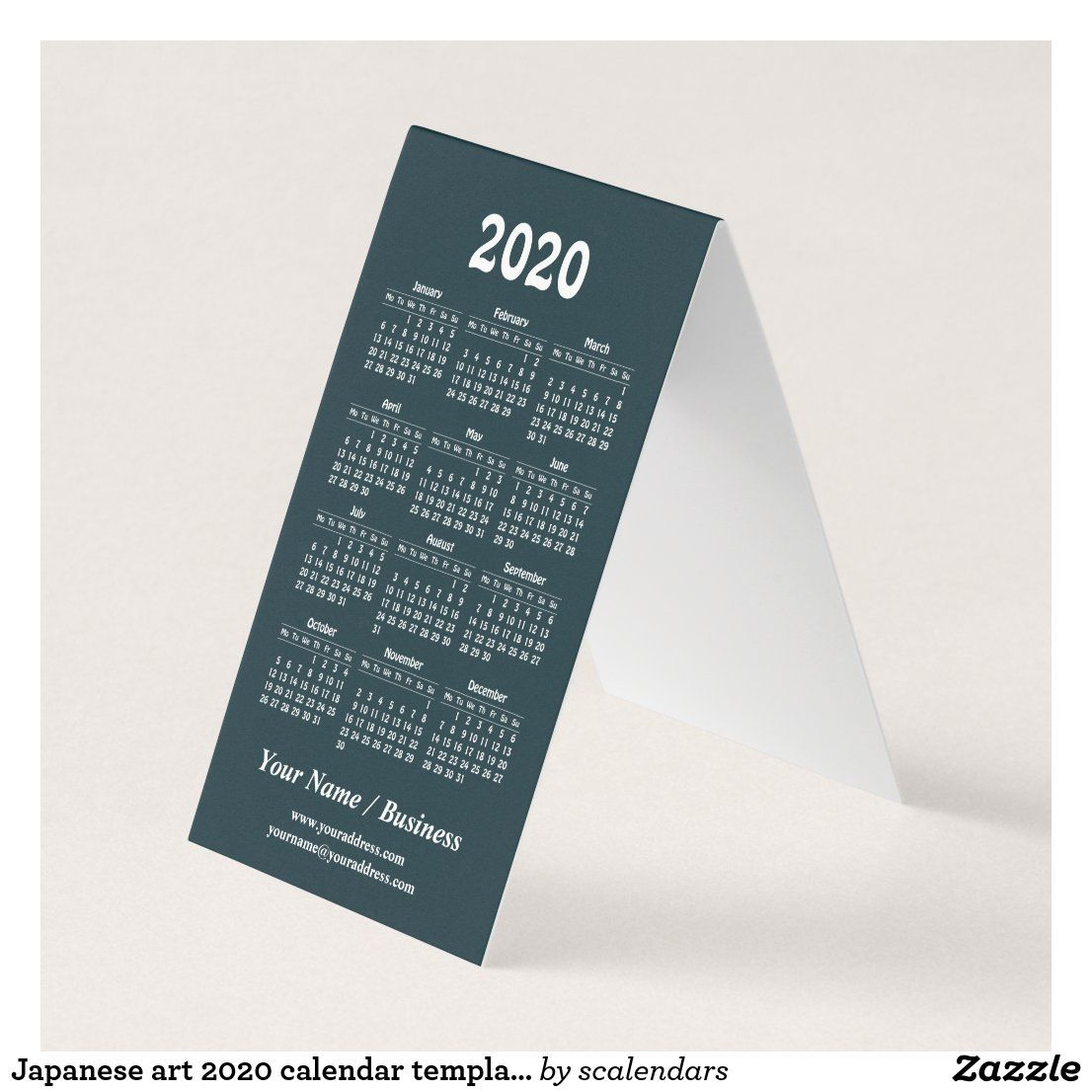 Japanese Art 2020 Calendar Template Business Card Zazzle Com 2020 Calendar Template Calendar Template Folded Business Cards