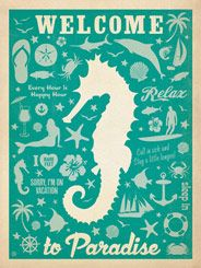 CC Seahorse Pattern Print - The Coastal Collection is breezy, casual, whimsical and nostalgic. Inspired by vintage nautical travel posters
