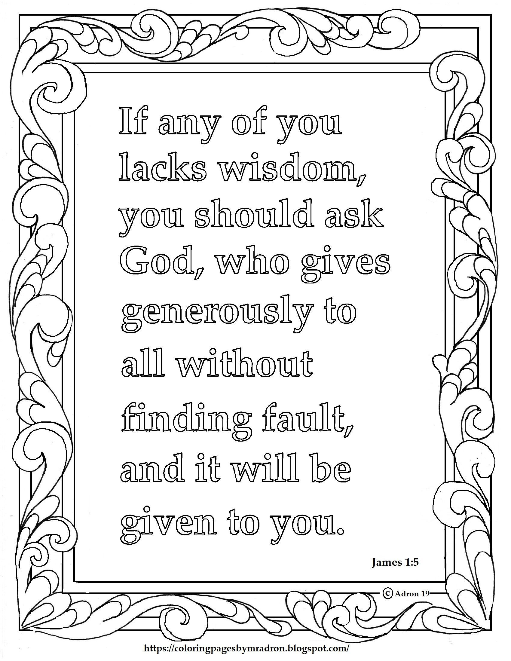 James 1 5 Print And Color Page If Any Man Lacks Wisdom Bible