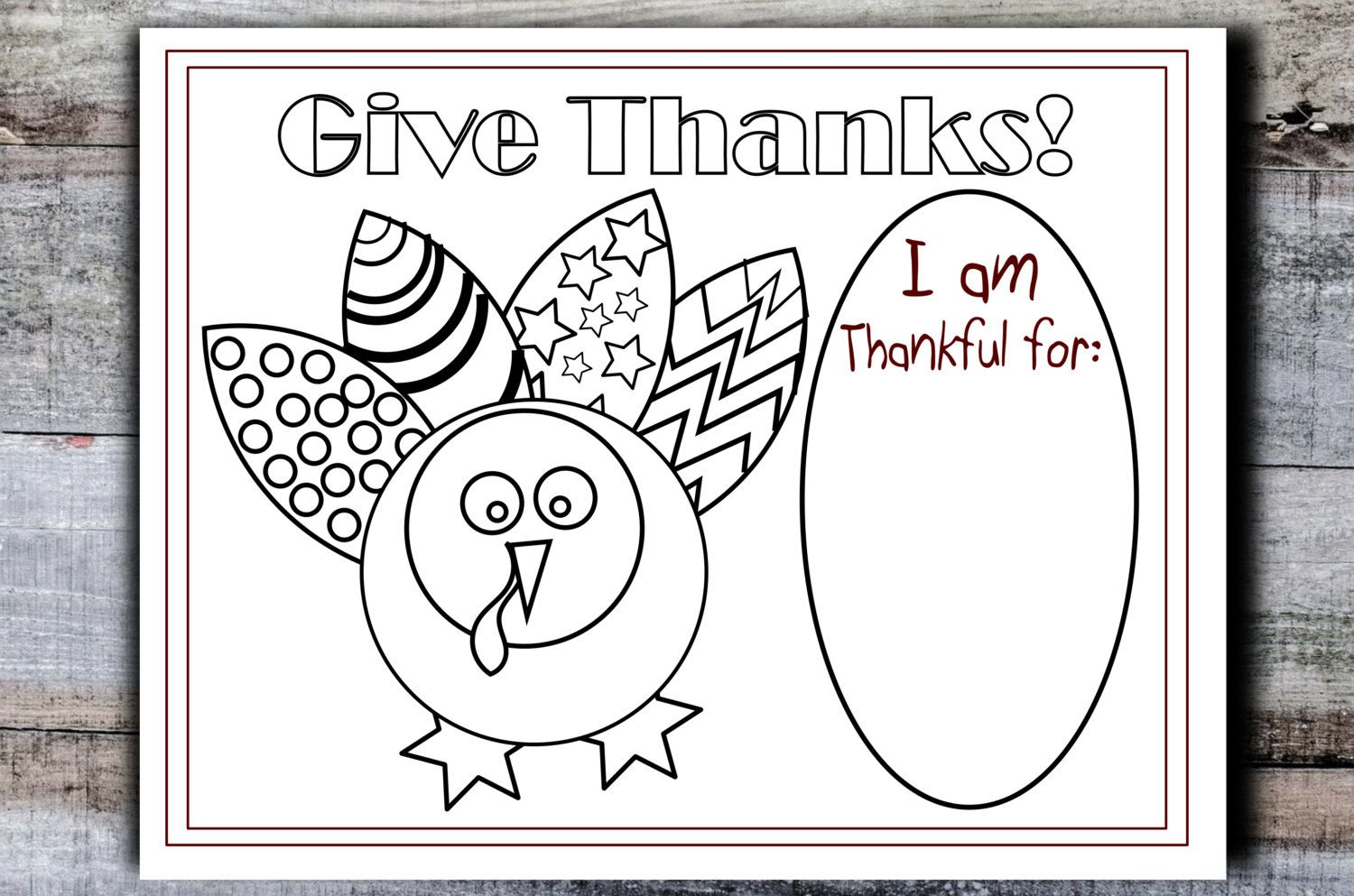 Printable Thanksgiving placemat, kids table, turkey