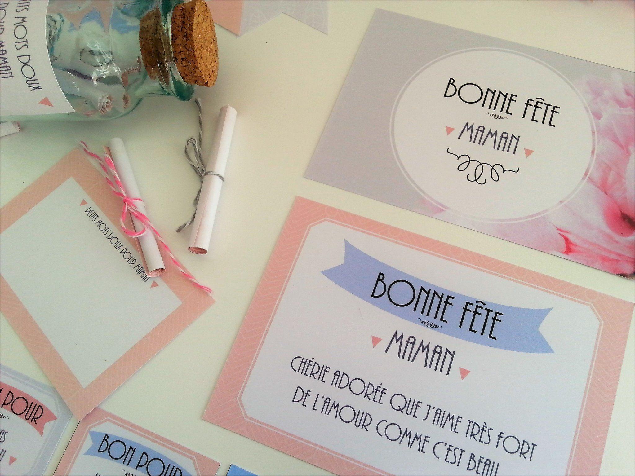 """Cartes """"Bonne fête maman"""", douces et sucrées... Retrouvez le kit complet à imprimer sur www.tetedecoucou.com"""