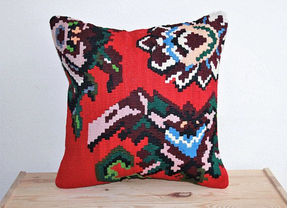 Decorative Navajo Home Décor Aztec Case Kilim Pillow Throw Pillows Ethnic  Handwoven Wool Middle Eastern Cushion