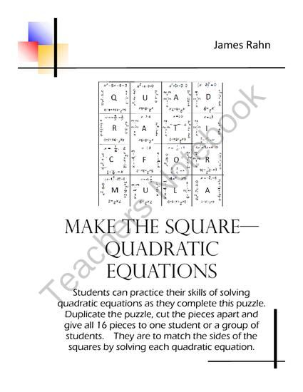 Make the Square - Quadratic Equations from jamesrahn on ...