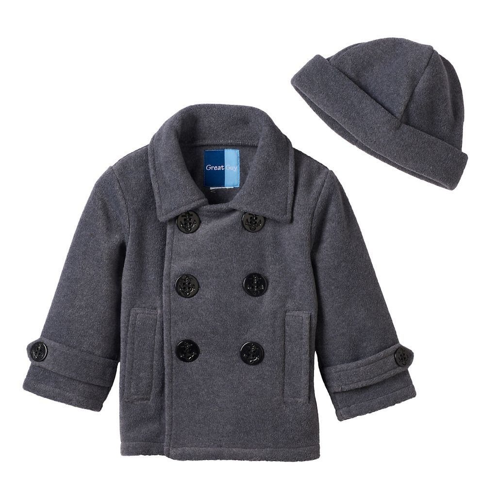 Baby Boy Great Guy Fleece Peacoat with Hat