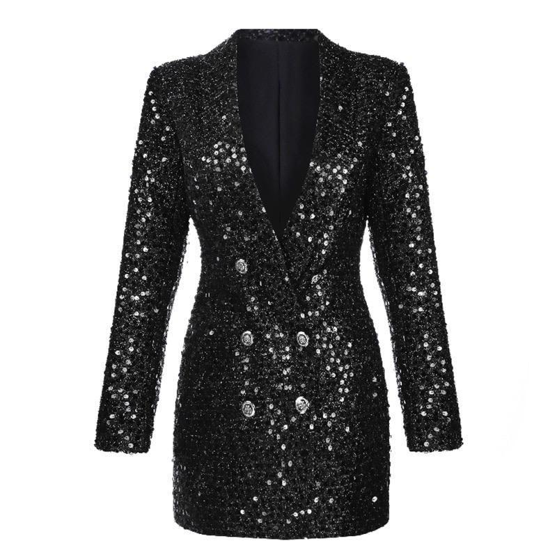 2018 Womens Long Sleeve Suit Punk Jacket Blazer Coat Sequin Shinny Outwear New