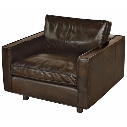 Willet Industrial Loft Dark Brown Leather Cubed Armchair