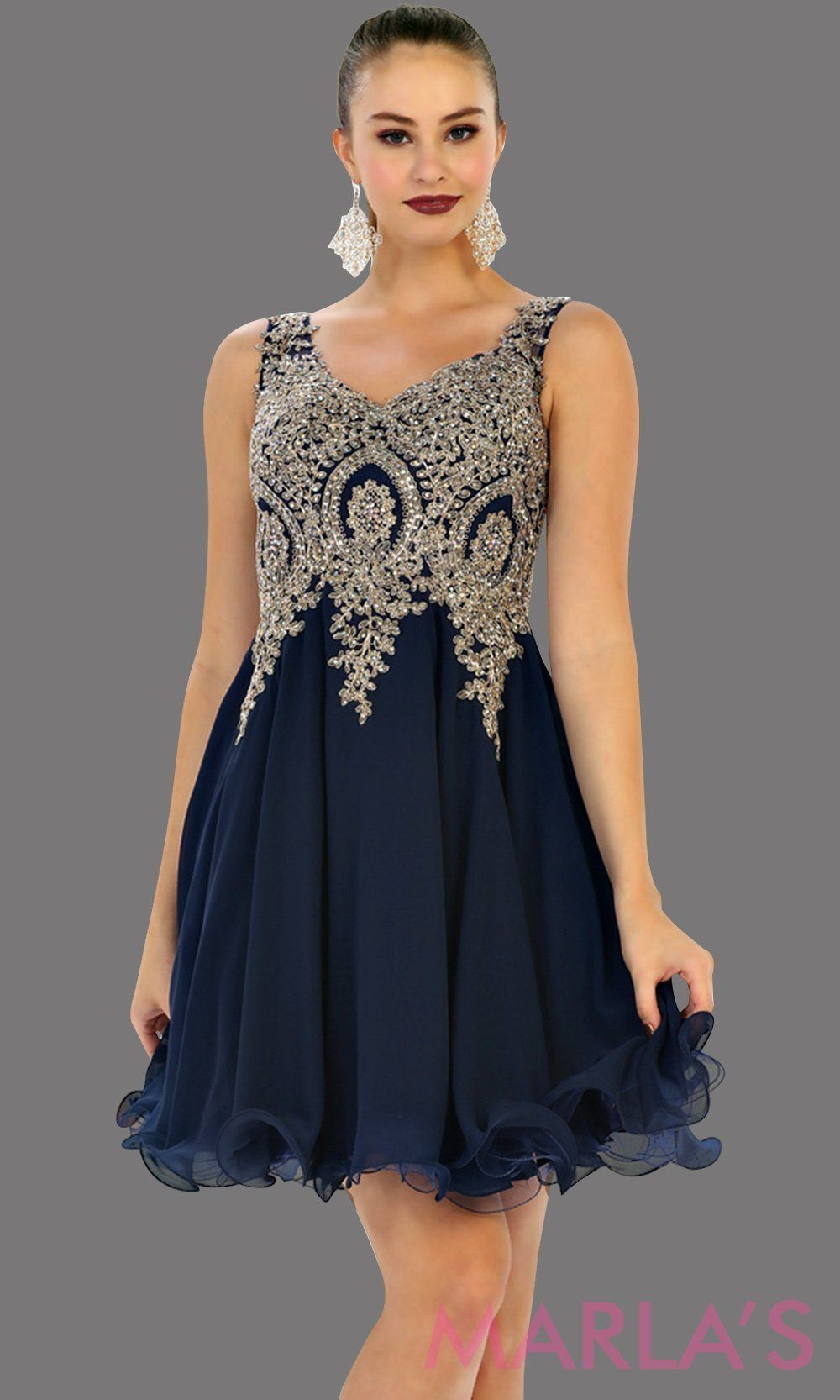 b98be09c68 Short flowy navy dress with gold lace detail on the bodice. This is a  perfect dark blue grade 8 graduation dress