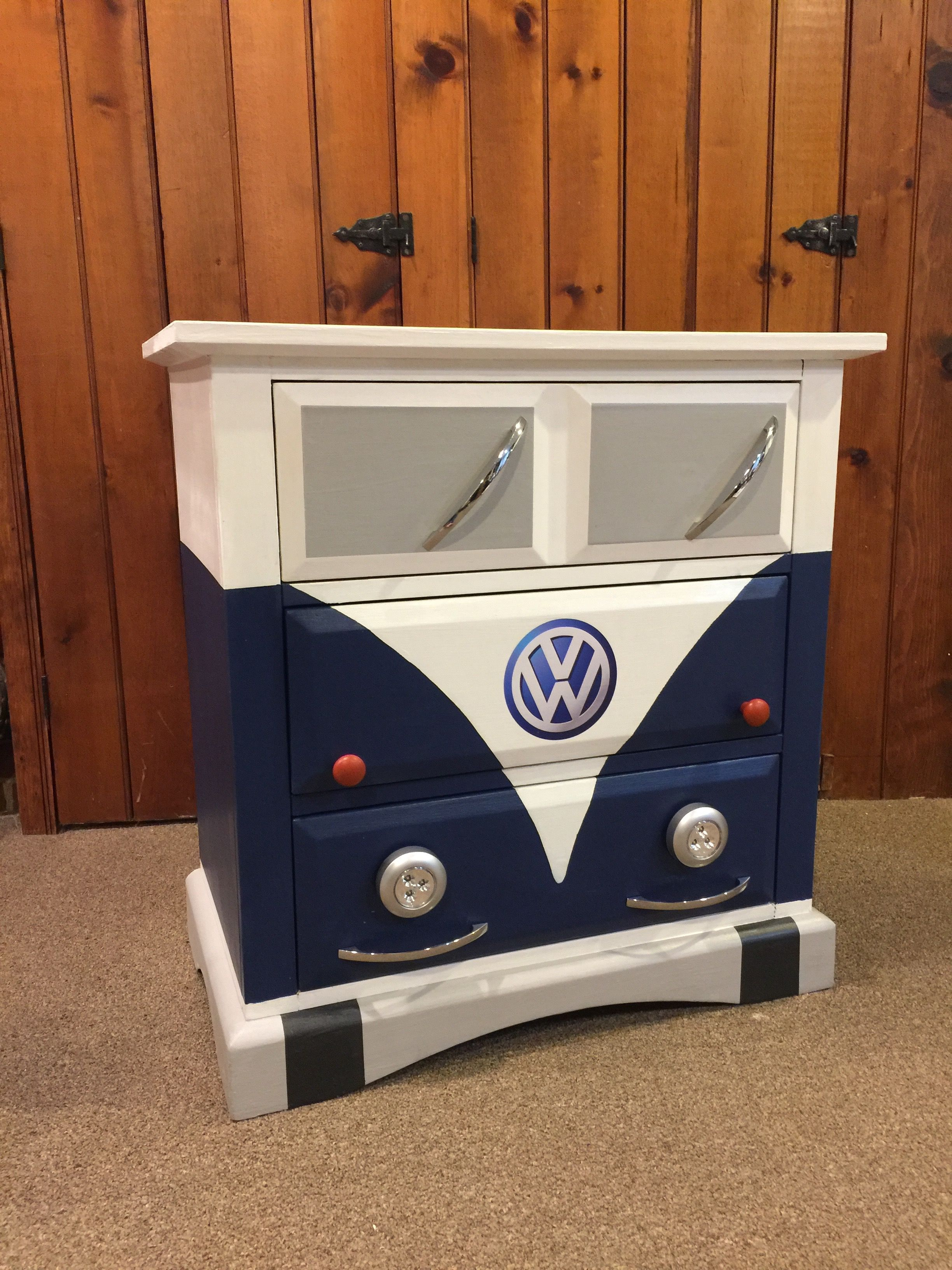Small Dresser Painted To Look Like A Blue Volkswagen Bus