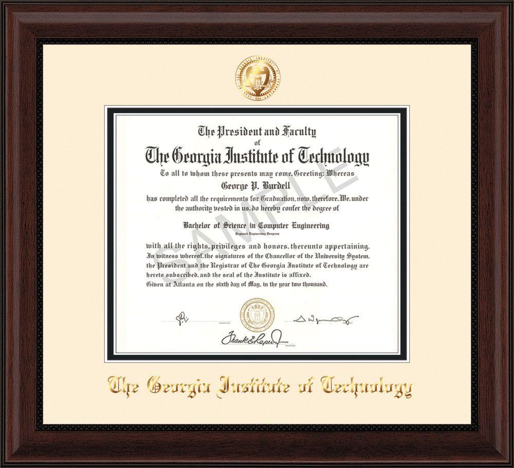 Georgia Tech Diploma Frame - Mahogany Bead - w/Embossed Seal & Name ...